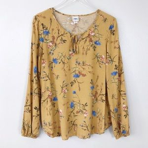 Daytrip by Buckle Floral Mustard Yellow Blouse